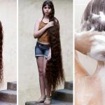 Esta niña tiene un cabello muy largo porque lo lava con esta receta