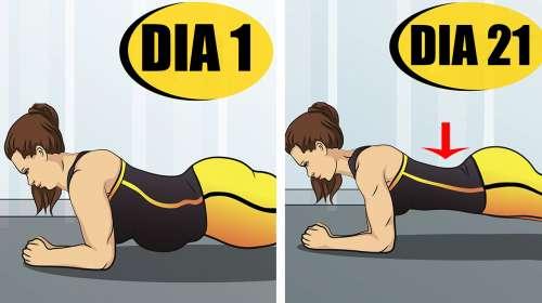 Desafio Plank de 21 Días para Obtener una Cintura sin Grasa y Glúteos Firmes
